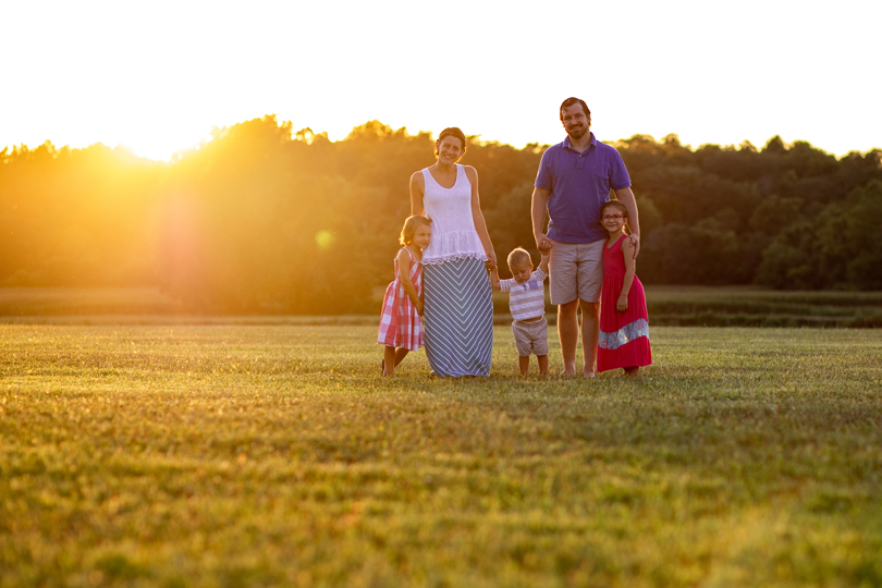 Family at golden hour